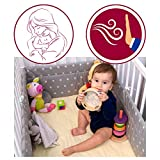 (180x30cm) - Amilian Baby Cot Bumper Wrap Around Protection For Baby's Bed With Head Guard Baby Owl Print White/Multi-Coloured Available In 3 Sizes